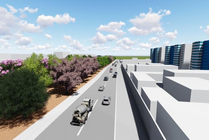 Maquete virtual mostra como será o plantio ao longo de 7 km da Avenida Pastor Martin Luther King Jr., na Zona Norte. Foto: divulgação / FPJ