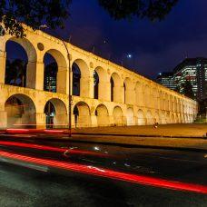 Os Arcos da Lapa com a iluminação especial de Natal. Foto: Marcelo Piu/Prefeitura do Rio