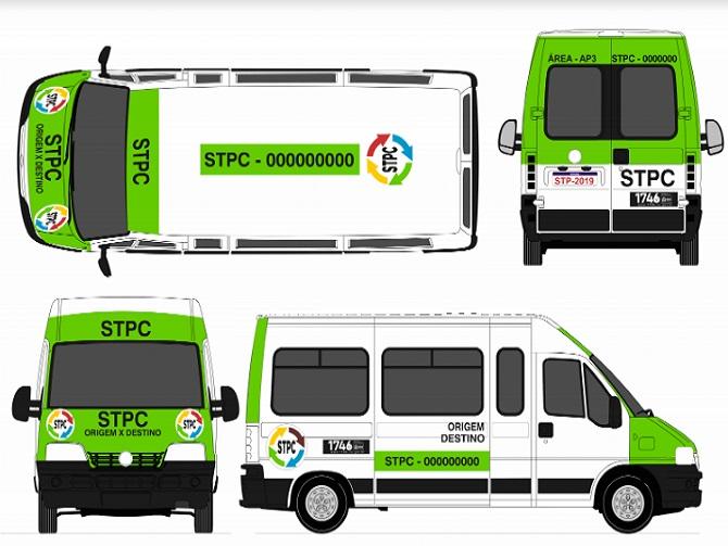 Nova pintura dos cabritinhos, vans, Kombis e similares que fazem transporte em comunidades. Cada cor representará uma região diferente da cidade. Foto: reprodução/SMTR