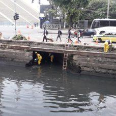 Equipe da Rio-Águas fez a limpeza dos canais no entorno do Sambódromo. Foto: Divulgação / Rio-Águas