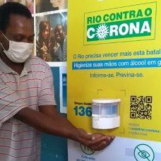 Compartimentos com álcool em gel são instalados em unidades de assistência social do Rio. Foto: divulgação