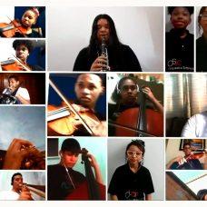 """São 23 estudantes, cada um tocando de sua casa, na gravação de """"Depende de nós"""", de Ivan Lins. Foto: Divulgação / Prefeitura"""